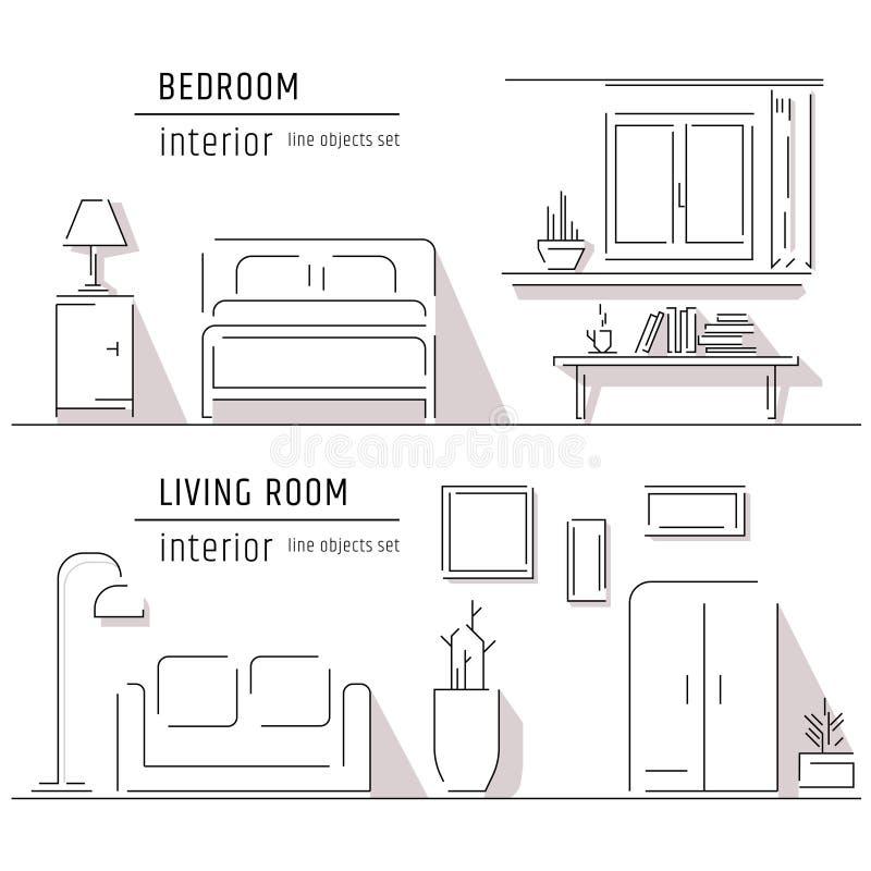现代设计师生存公寓的线性平的室内设计例证 概述向量图形概念 向量例证