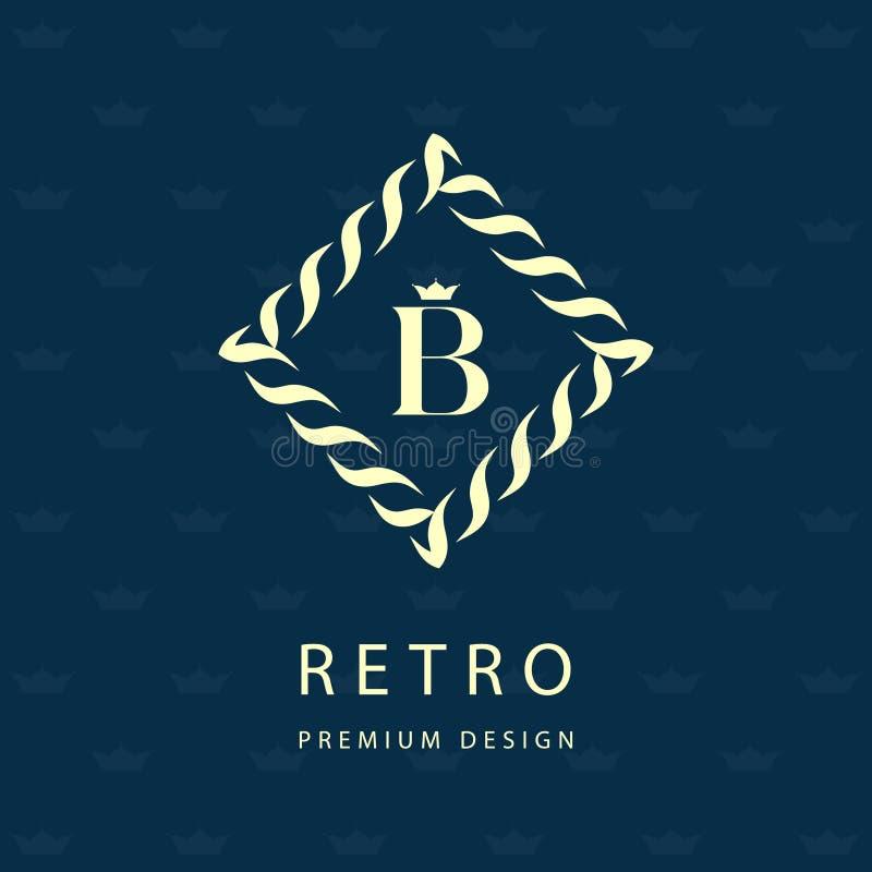 现代设计的徽标 几何组合图案模板 信件象征B 分别标记  名牌的普遍企业标志 皇族释放例证