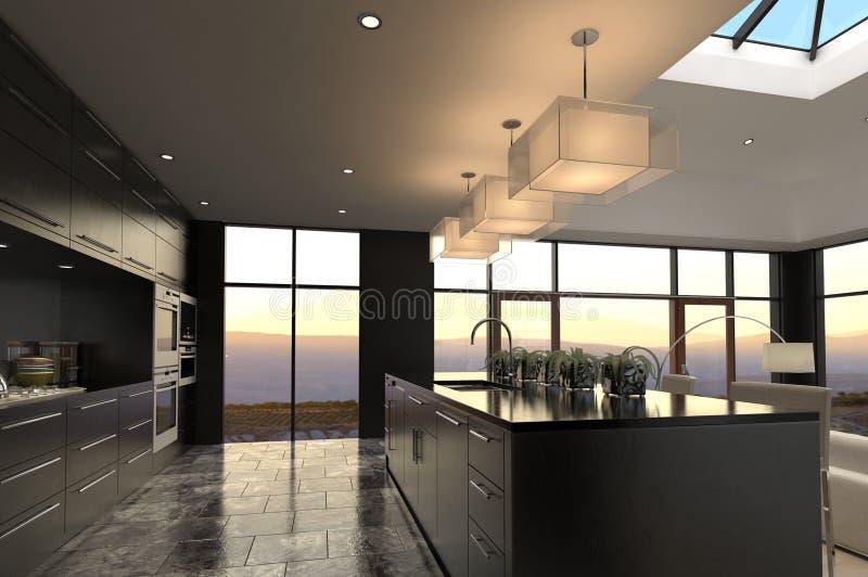 现代设计豪华厨房内部 皇族释放例证
