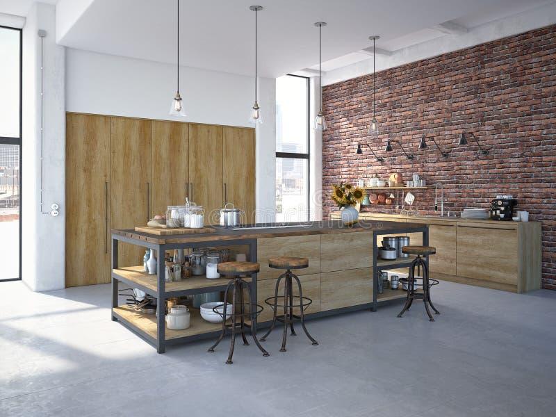 现代设计豪华厨房内部 3d翻译 免版税库存照片