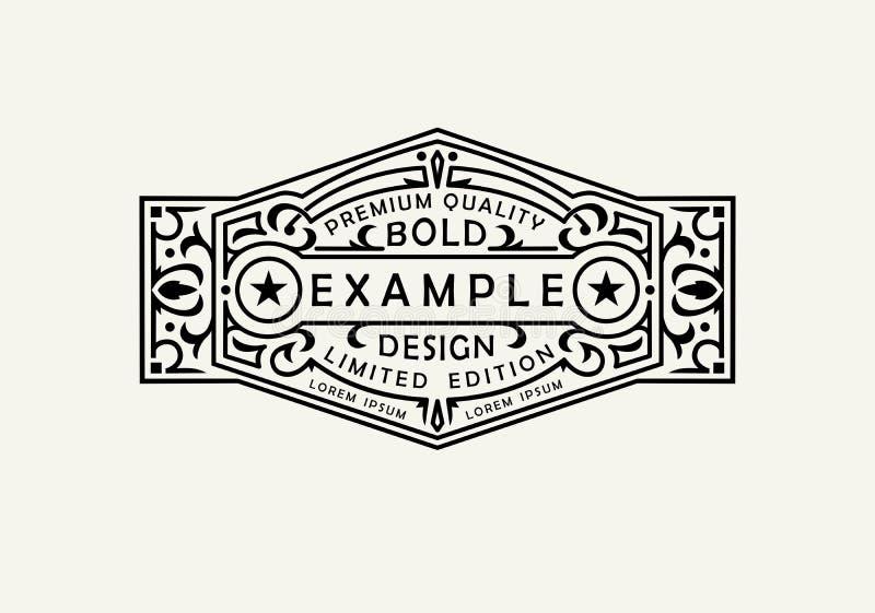 现代象征,徽章,标签,组合图案模板 豪华典雅的框架装饰品线商标设计传染媒介例证 库存例证