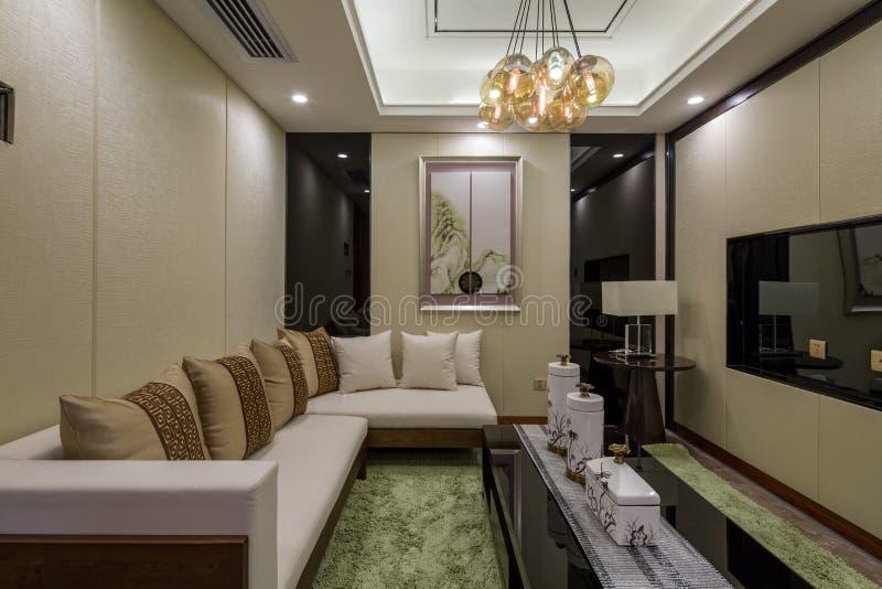 现代豪华内部家庭设计客厅装饰 库存图片
