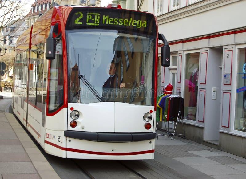 现代路面电车在埃福特,德国 图库摄影