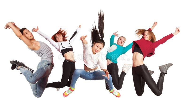 年轻现代跳舞的小组实践跳舞 库存照片