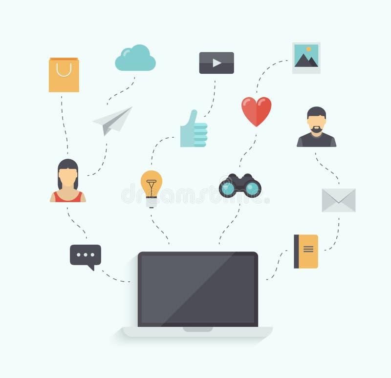 现代通讯技术平的例证 库存例证