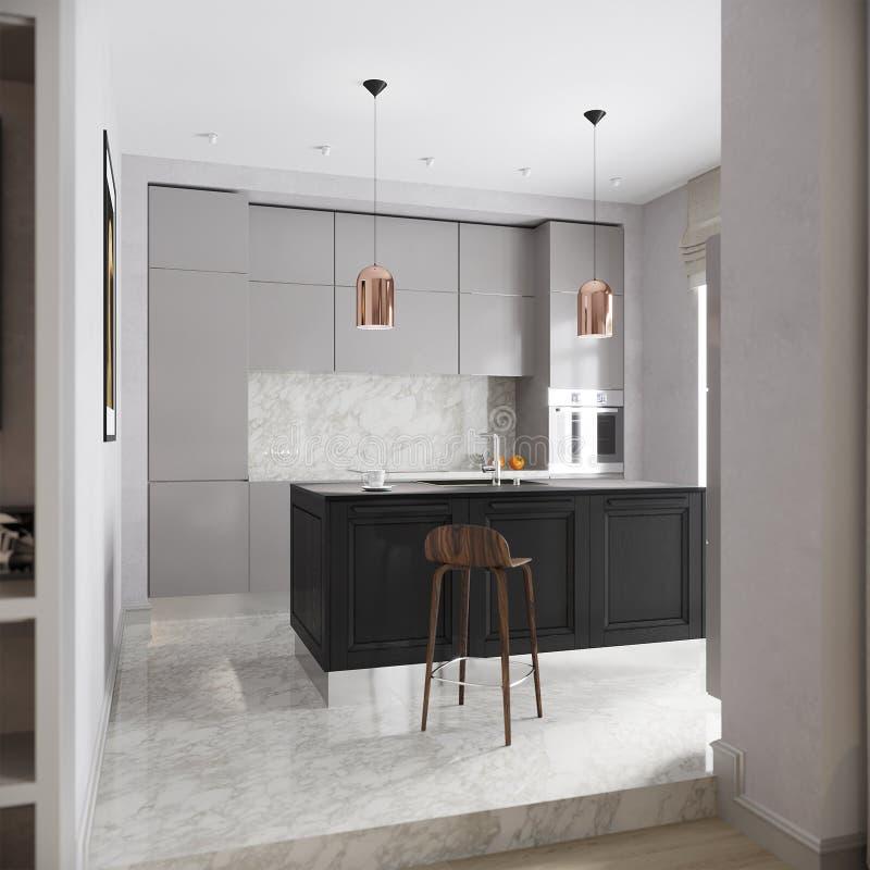 现代都市当代灰色厨房内部 库存图片