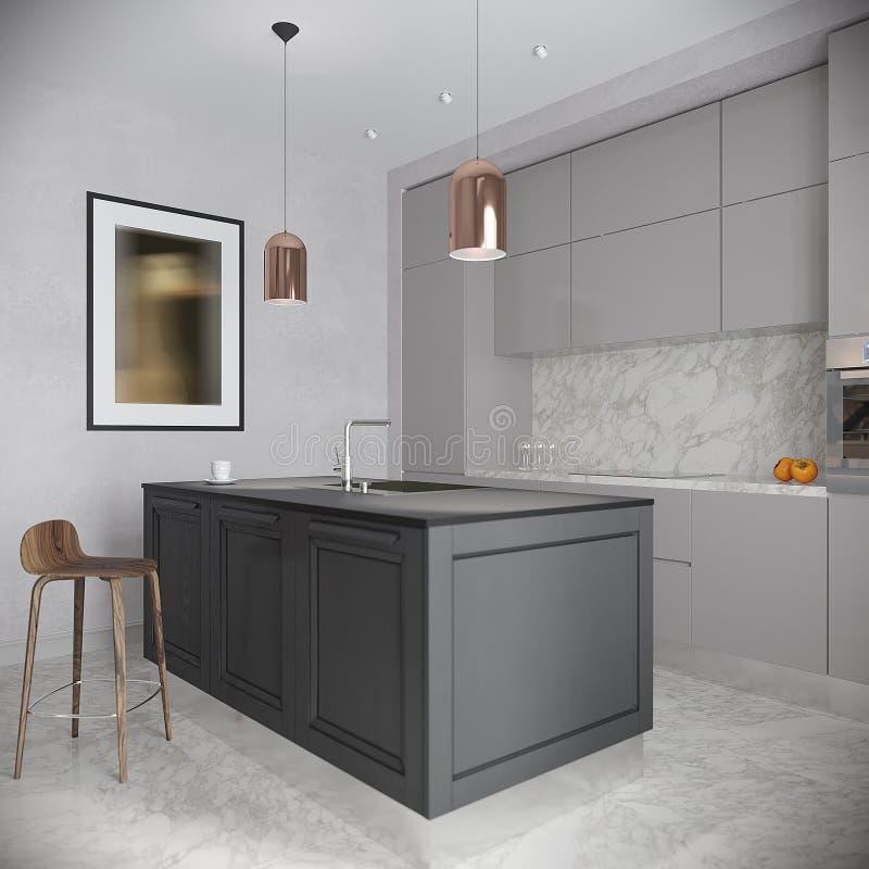 现代都市当代灰色厨房内部 免版税图库摄影