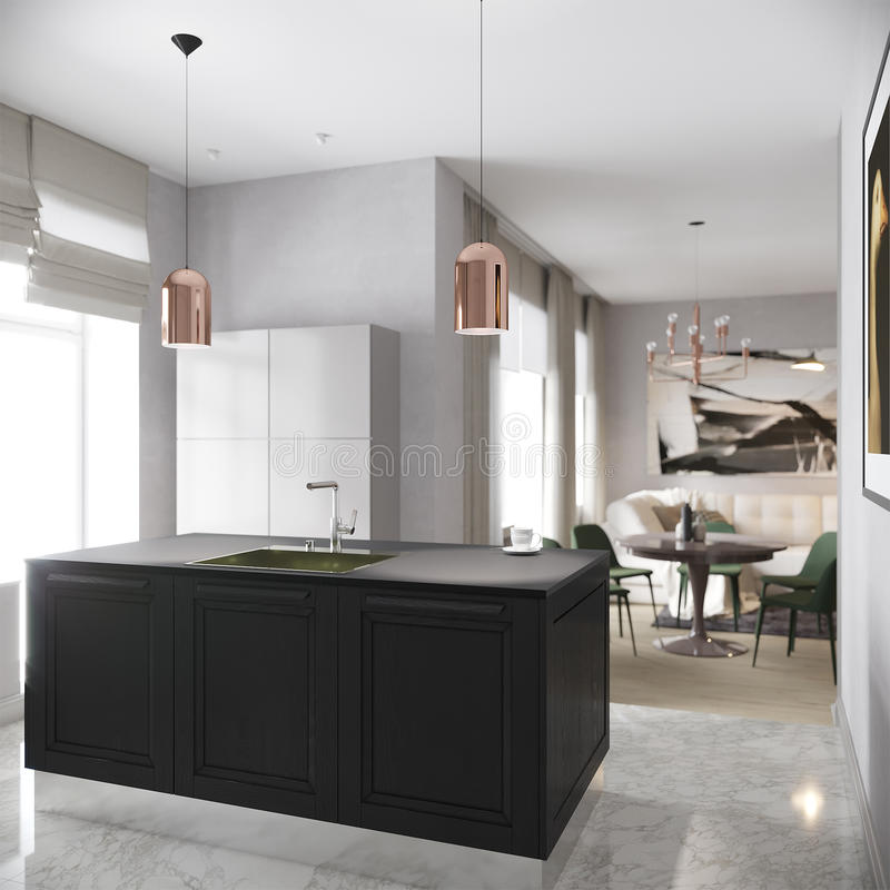 现代都市当代灰色厨房内部 库存照片