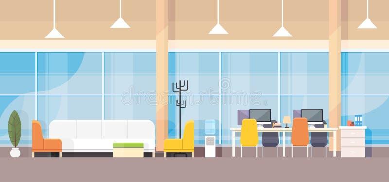 现代银行办公室内部工作场所书桌平的设计 向量例证