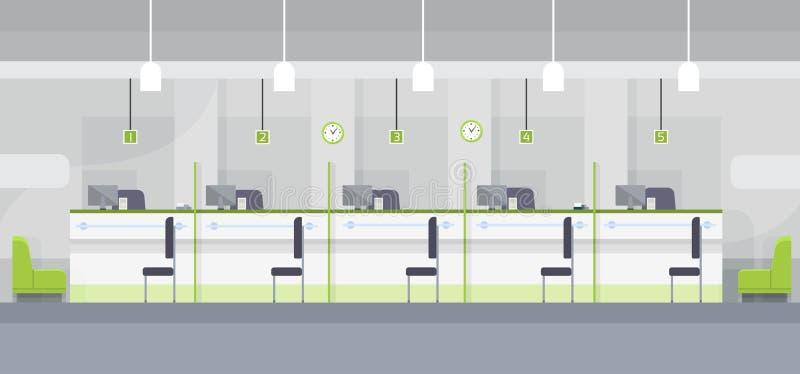 现代银行办公室Chashier内部工作场所书桌平的设计 库存例证