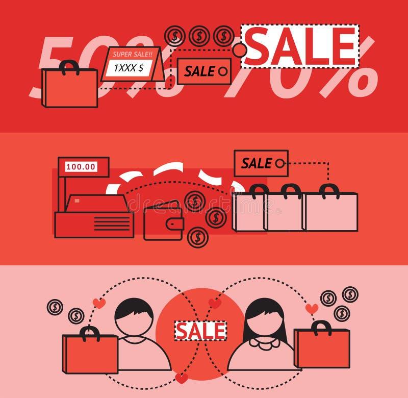 现代销售和营销促进平的线设计横幅 库存例证