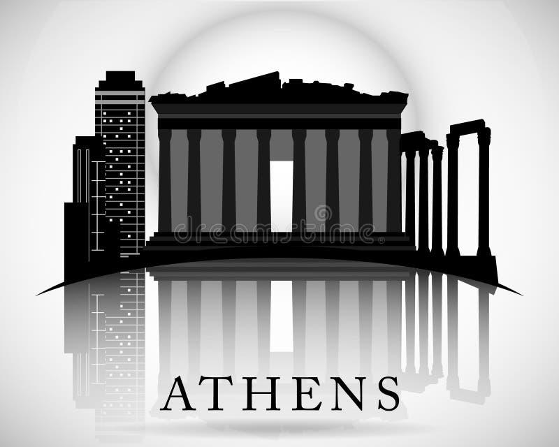 现代雅典市地平线设计 希腊 向量例证