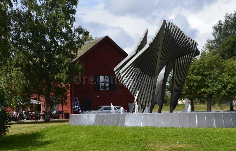 现代雕塑在克里斯蒂娜港,瑞典 免版税库存照片