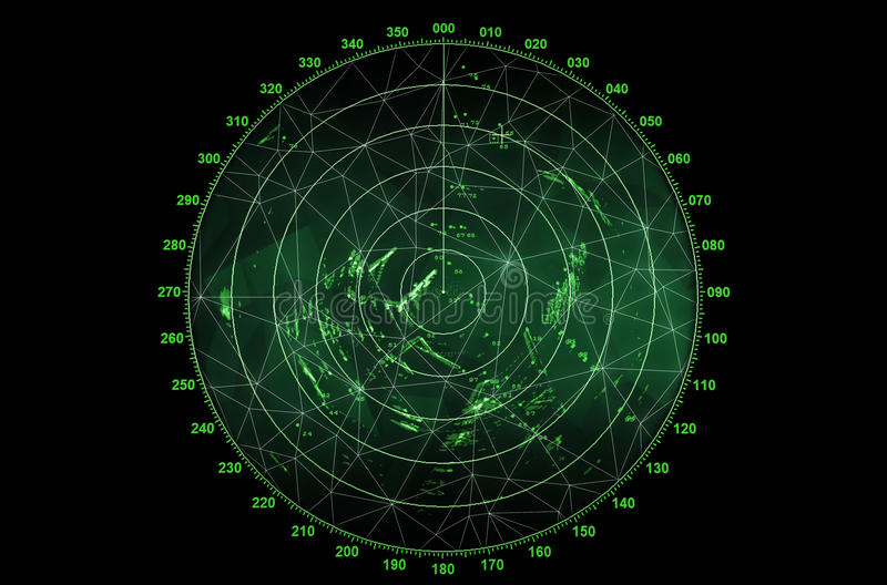 现代雷达显示器 免版税库存照片