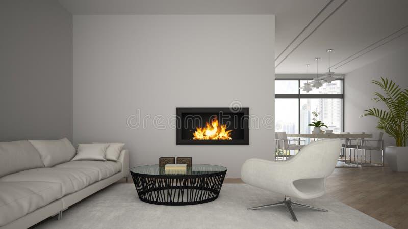 现代顶楼内部有壁炉的和白色沙发3D回报 向量例证