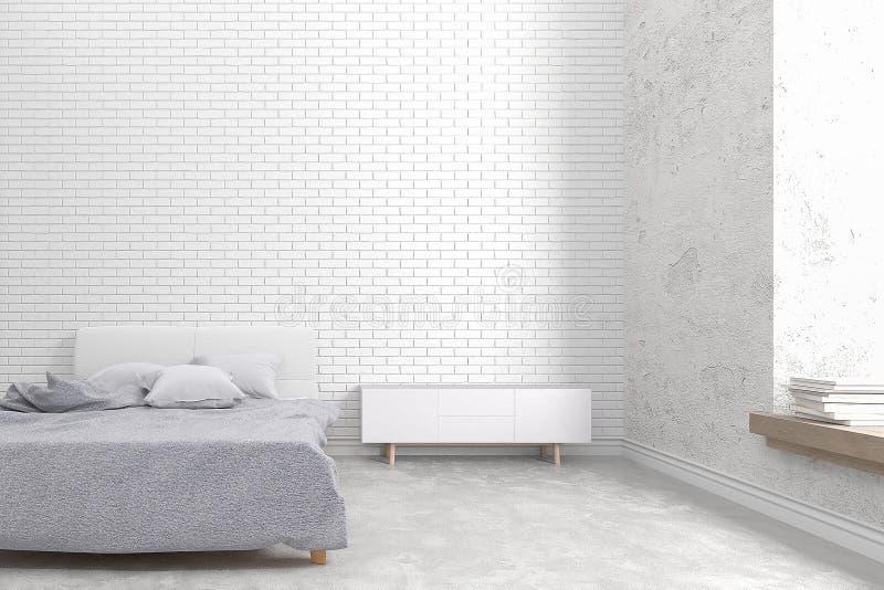 现代顶楼卧室白色砖墙和老具体设计, 3D回报图象 向量例证