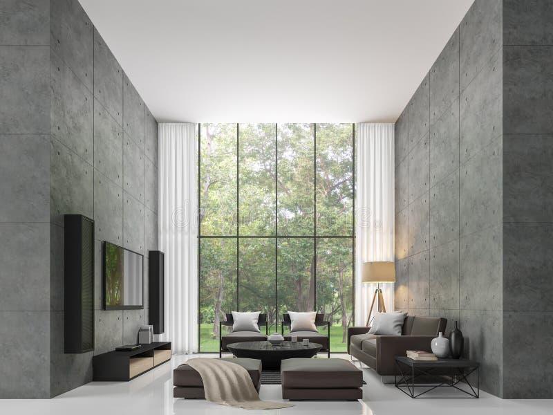 现代顶楼客厅3d翻译图象 向量例证