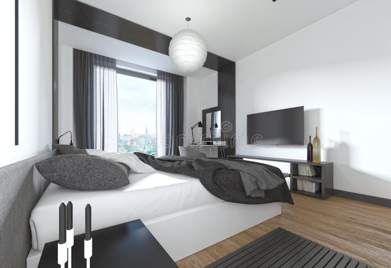 现代风格的豪华,现代卧室在黑色和whi 皇族释放例证