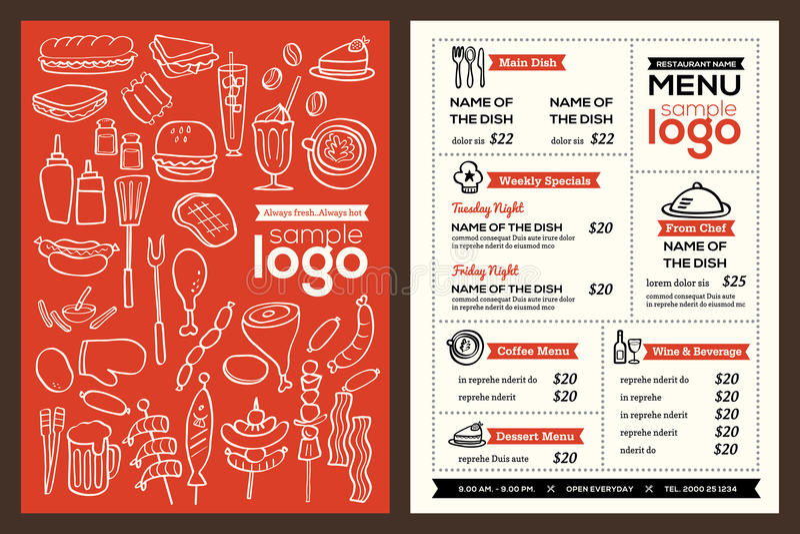 现代餐馆菜单盖子设计小册子传染媒介模板 皇族释放例证