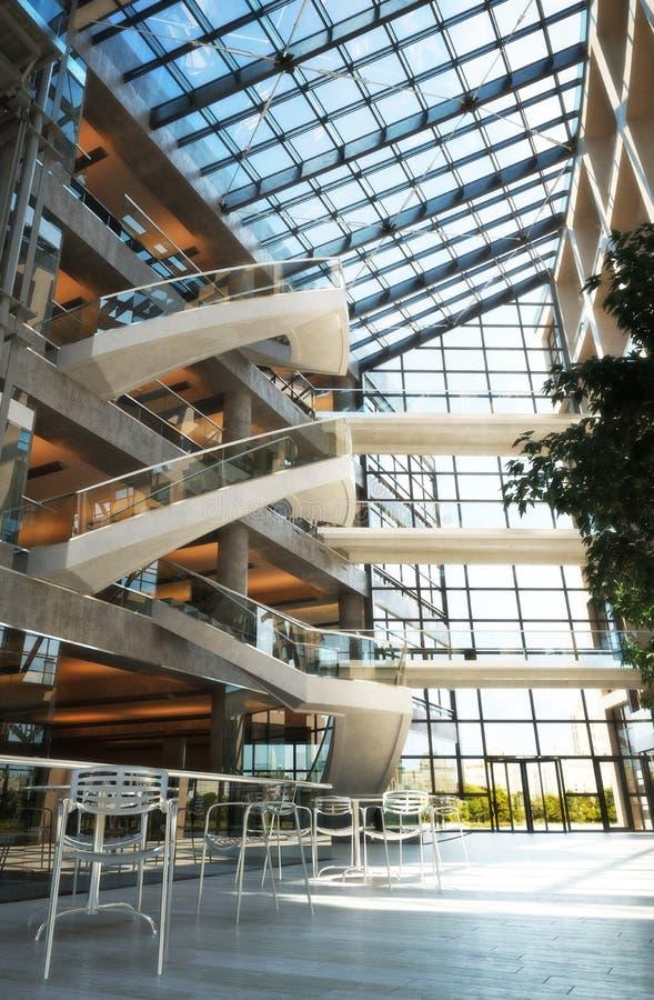 现代高级开放地板商城或机场概念 向量例证