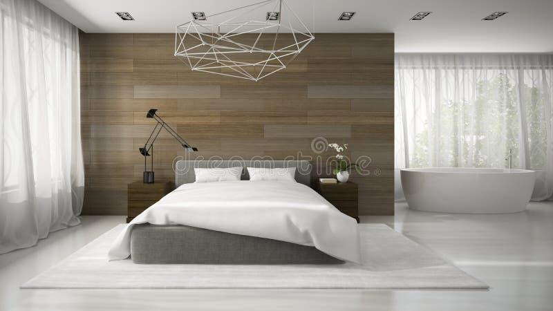 现代badroom内部与浴缸3D翻译的 向量例证
