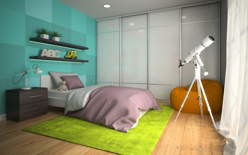 现代childroom内部与回报3的蓝色墙壁3D的 皇族释放例证