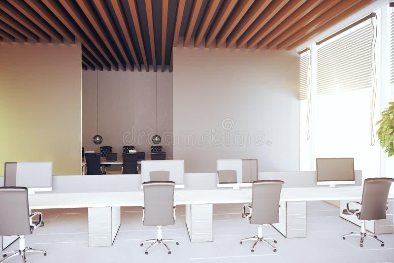 现代coworking的办公室内部 库存例证