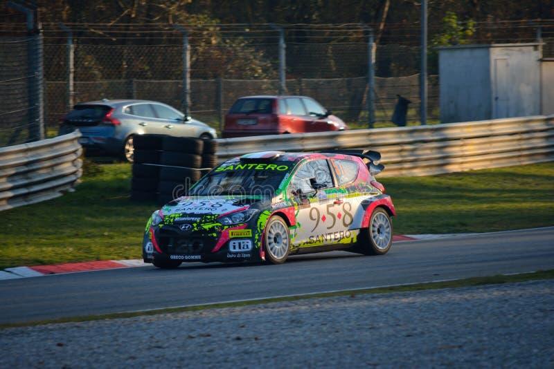 现代I20 WRC世界集会汽车在蒙扎 免版税图库摄影