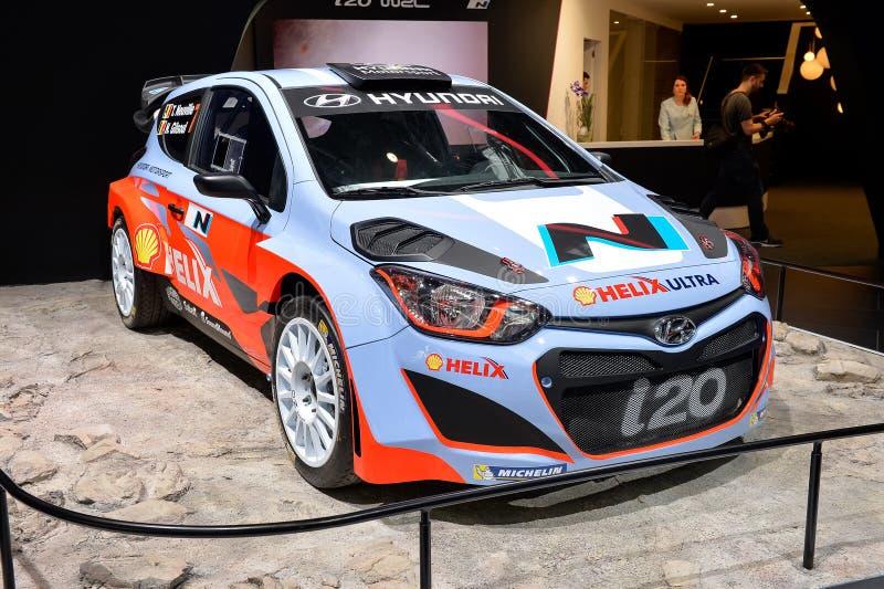 现代i20 WRC汽车 免版税库存照片