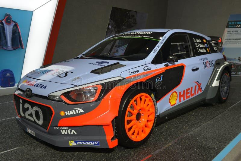 现代i20 WRC赛车 免版税库存照片