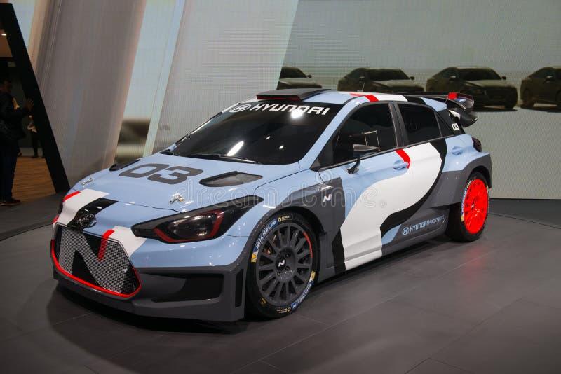 现代i20 WRC集会车的全球首演 库存图片
