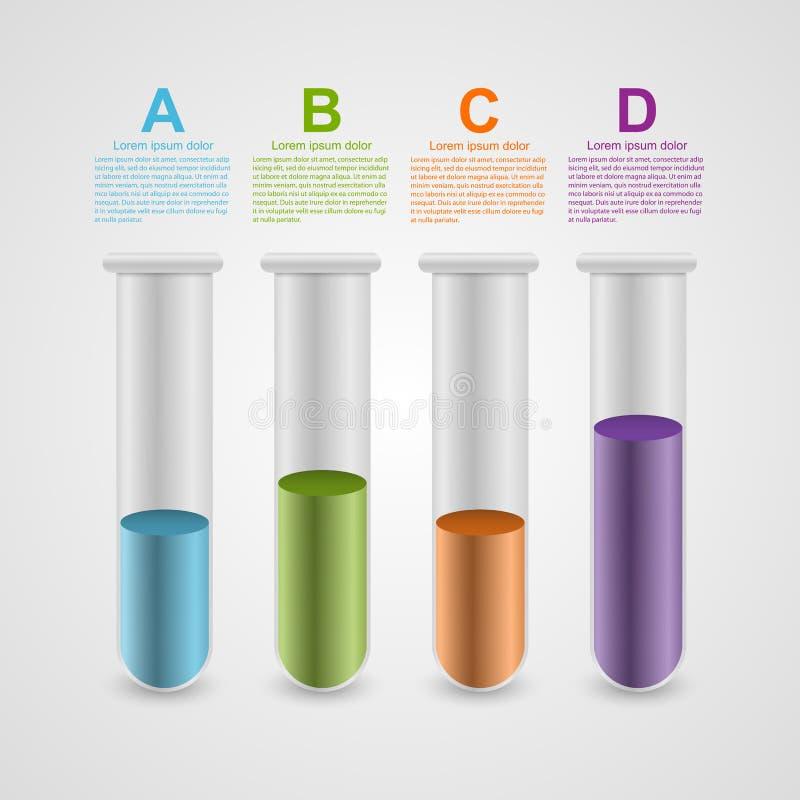 现代infographic在科学和医学以试管的形式 背景设计要素空白四的雪花 库存例证