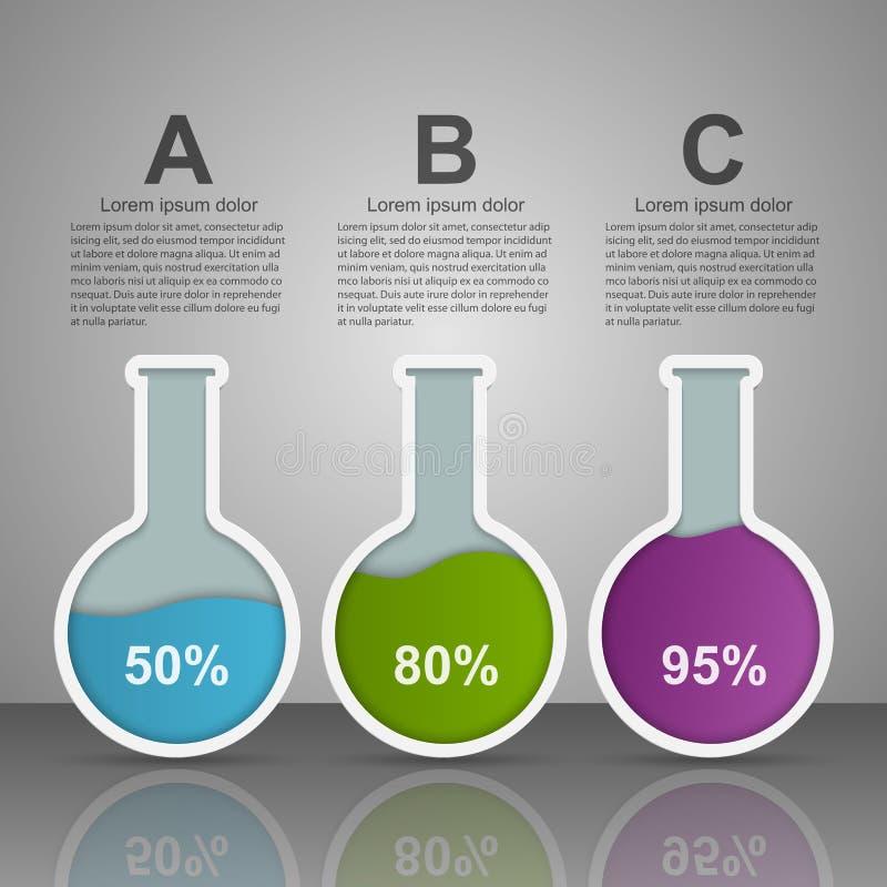 现代infographic在科学和医学以试管的形式 背景设计要素空白四的雪花 皇族释放例证
