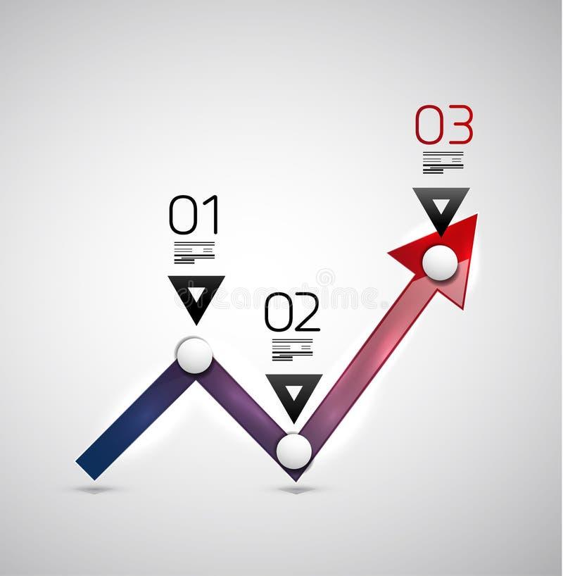 现代infographic设计模板-箭头图表 向量例证
