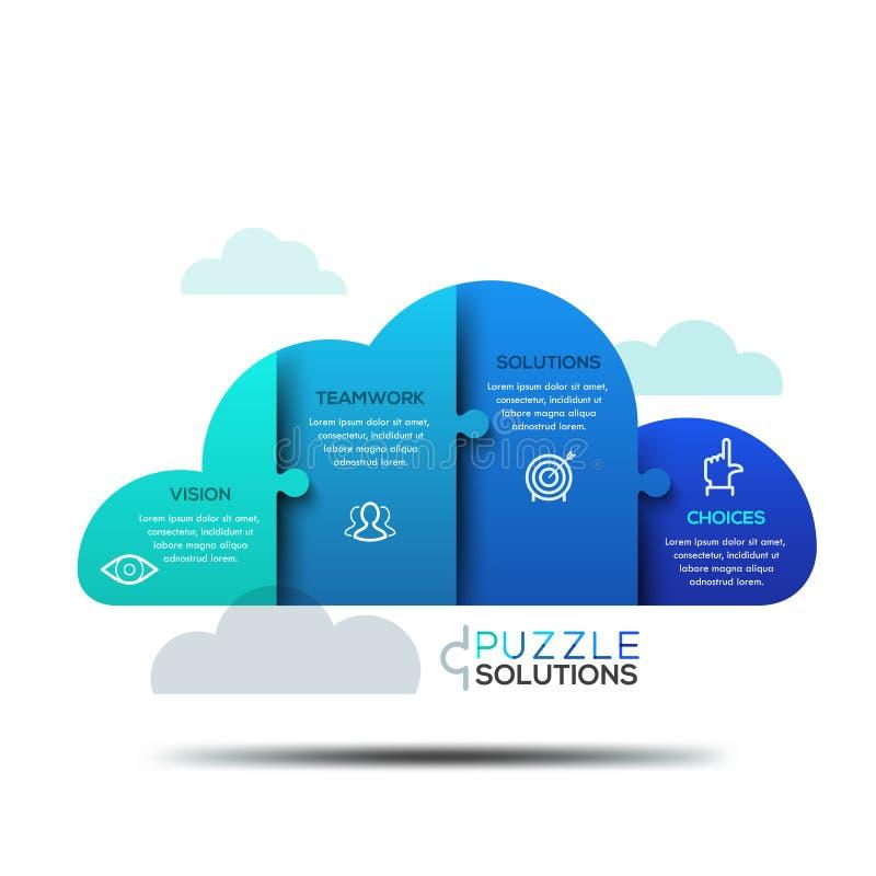 现代infographic设计版面,在云彩形状的七巧板  库存例证