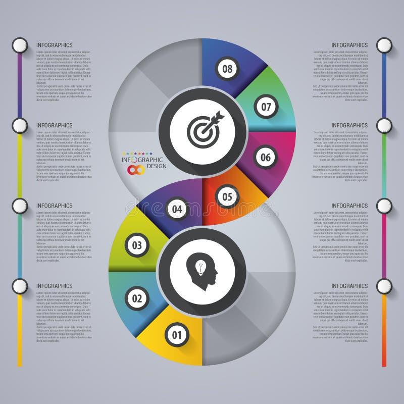 现代infographic选择横幅 抽象圆的无限 构思设计餐馆模板 也corel凹道例证向量 库存例证