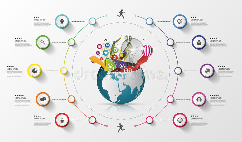 现代infographics全球性模板 五颜六色的概念 也corel凹道例证向量 皇族释放例证
