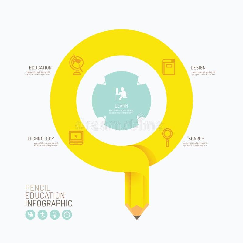 现代infographics设计铅笔箭头选择横幅 向量 库存例证