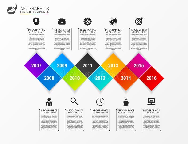 现代Infographics过程模板 到达天空的企业概念金黄回归键所有权 向量 库存例证