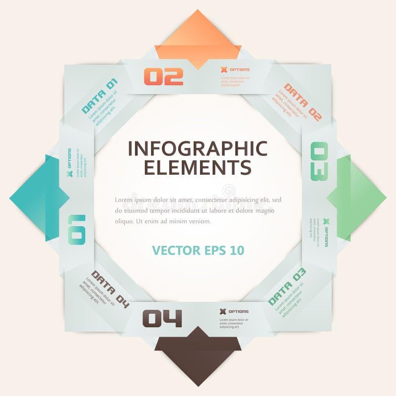 现代Origami样式数字选择Infographic例证 向量例证