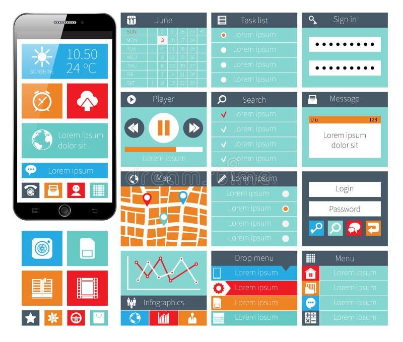 现代UI平的设计网元素 皇族释放例证