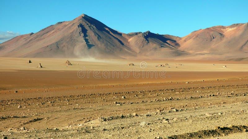 玻利维亚人的Altiplano,南美大理沙漠 免版税库存照片