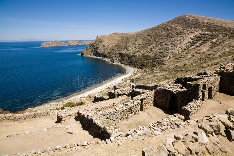 玻利维亚印加人湖破坏titicaca 库存图片