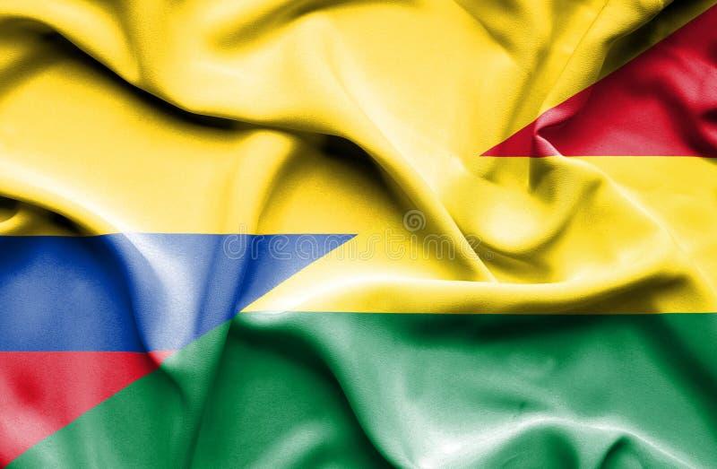 玻利维亚和哥伦比亚挥动的旗子  库存例证