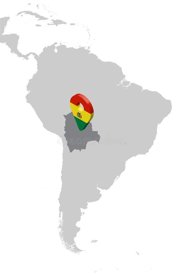 玻利维亚在地图南美洲的定位图 3d玻利维亚旗子地图标志地点别针 玻利维亚的优质地图 向量例证
