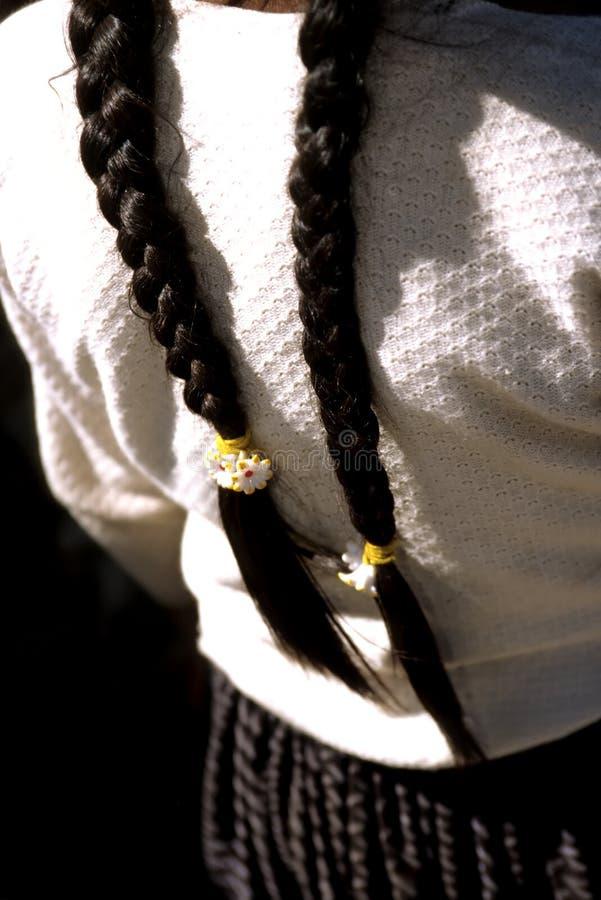 玻利维亚把女孩s编成辫子 库存图片