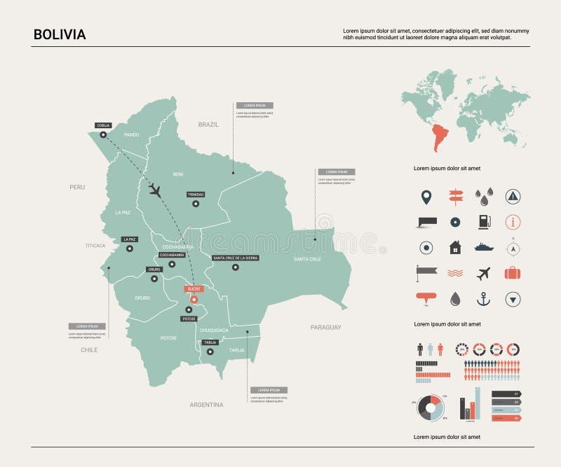 玻利维亚的传染媒介地图 与分裂、城市和首都苏克雷的高详细的国家地图 r 库存例证
