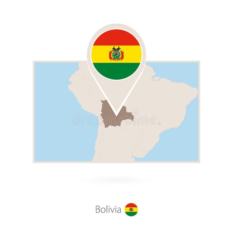 玻利维亚的长方形地图有玻利维亚的别针象的 库存例证