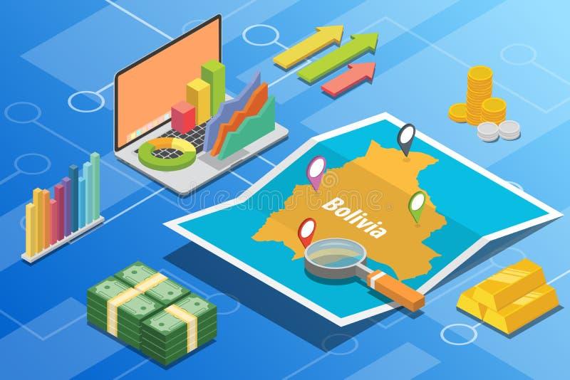 玻利维亚等量企业经济成长国家以地图和财务情况-传染媒介 向量例证