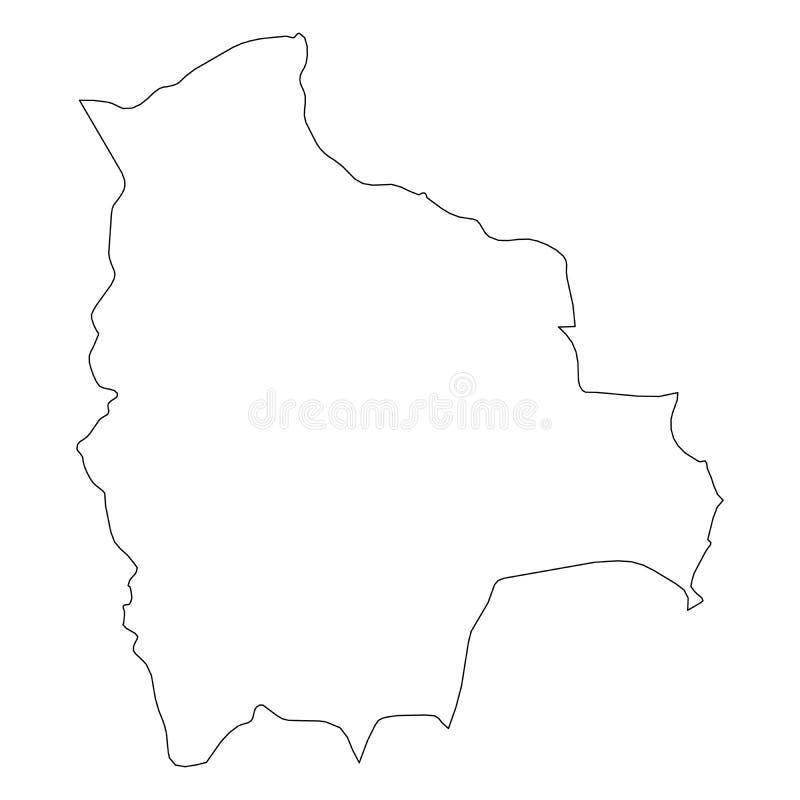 玻利维亚-国家区域坚实黑概述边界地图  简单的平的传染媒介例证 皇族释放例证